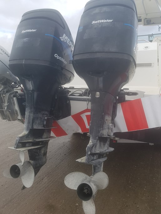 Mercury twin optimax 225 xl cxl dfi sw extra long stainles for Used twin outboard motors for sale